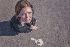 sad girl dropped ice cream