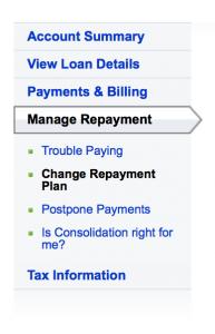 Change repayment Plan Link
