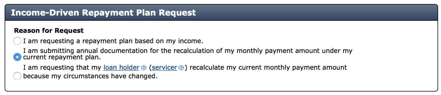 Income Driven Request