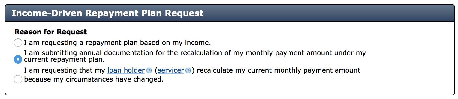 Income Driven Request