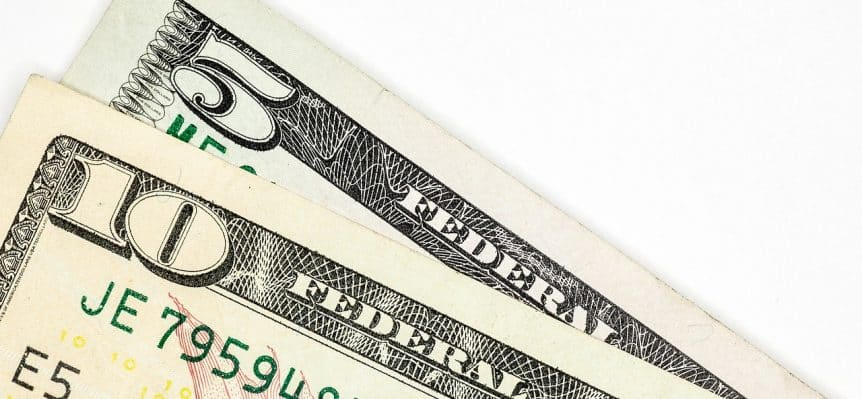 ten dollar bill and five dollar bill
