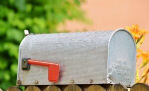 Closed silver mailbox