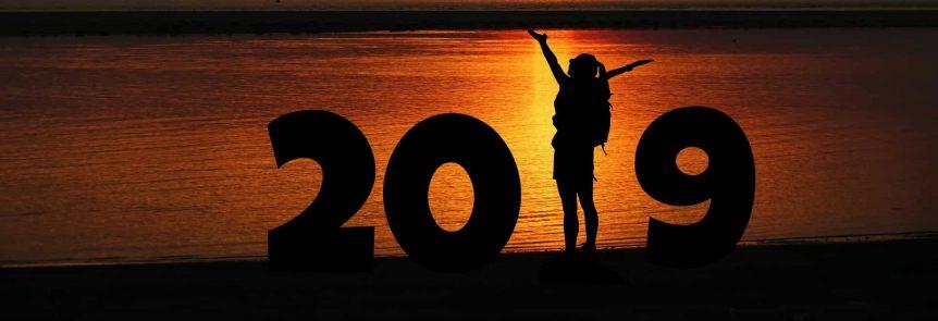 woman celebrates 2019