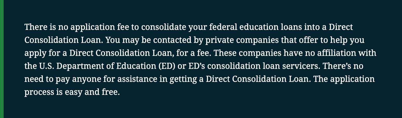 Department of Education Warning on Consolidation