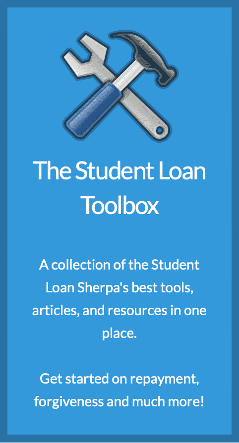 Picture of tools and a description of the student loan resources available